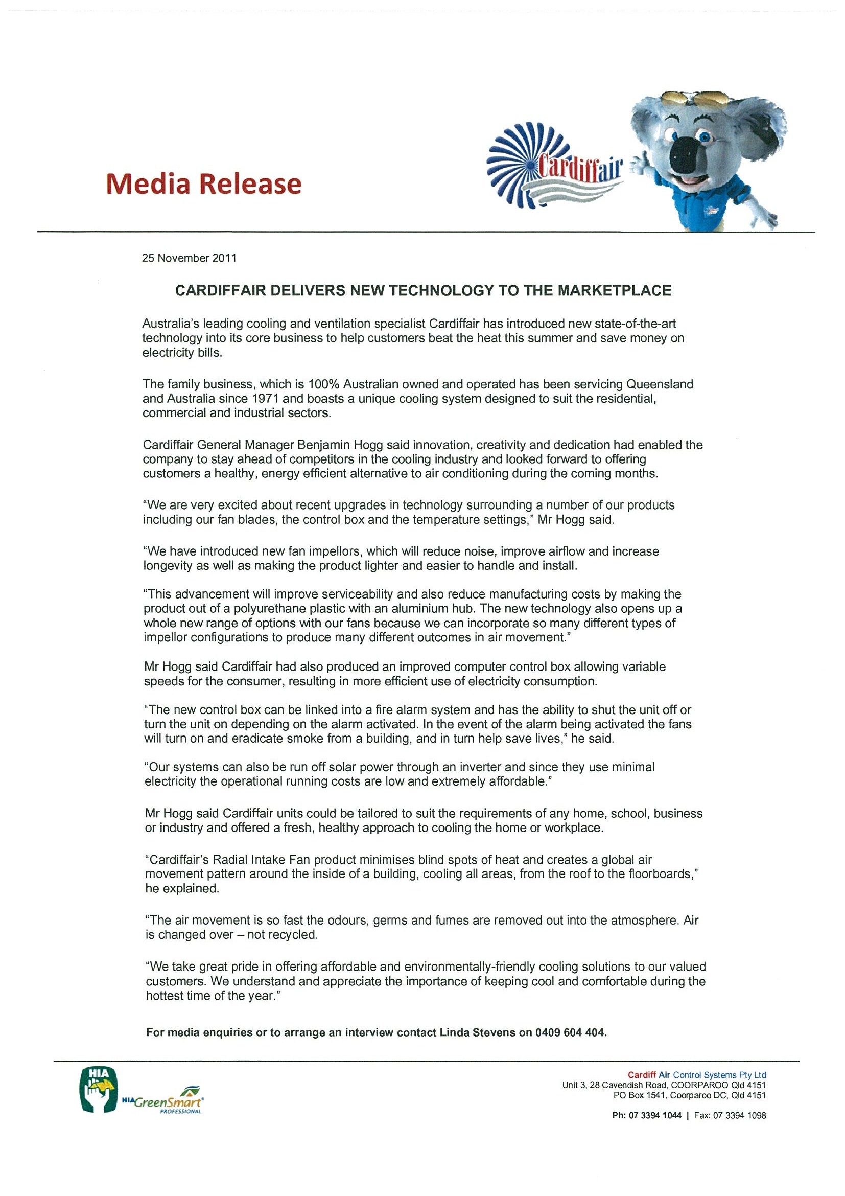 Media Release 1 New Technology 251111 Cardiff Air